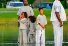 Photo of Kanye West Walks On Water With His Kids At A Church Service in  A Miracle Stunt