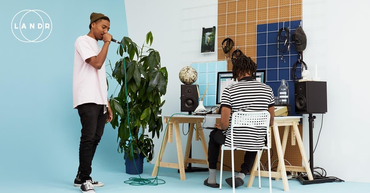 Home studio set by the online audio mastering service Landr
