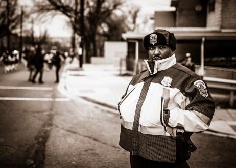 Black police officer, 2017.