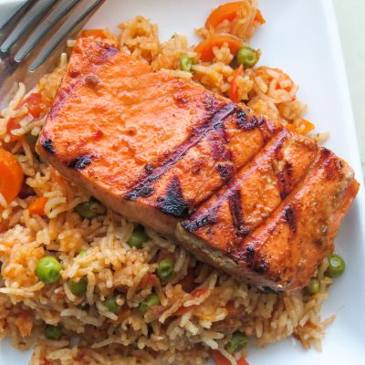 One Pot Cameroonian jollof rice with Salmon