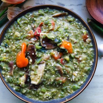 Spicy Shiitake Mushroom Okra Soup