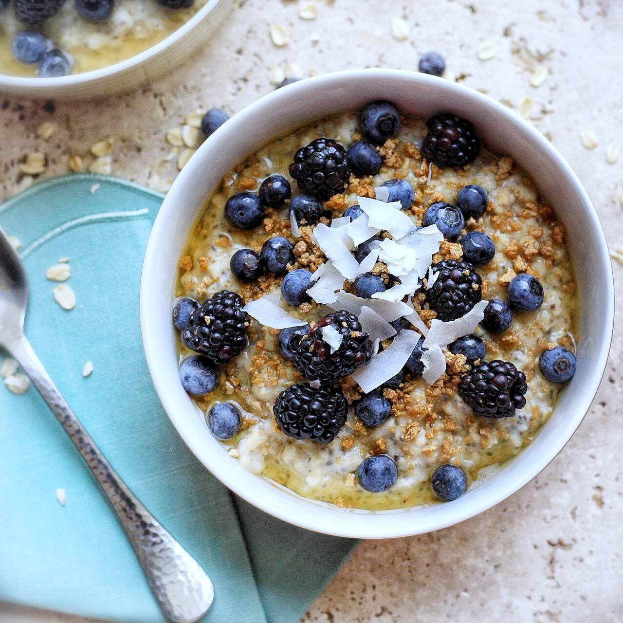 Oatmeal topped with berries