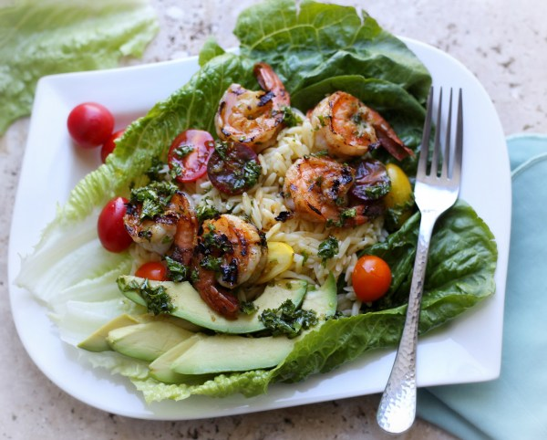 Orzo shrimp lettuce salad