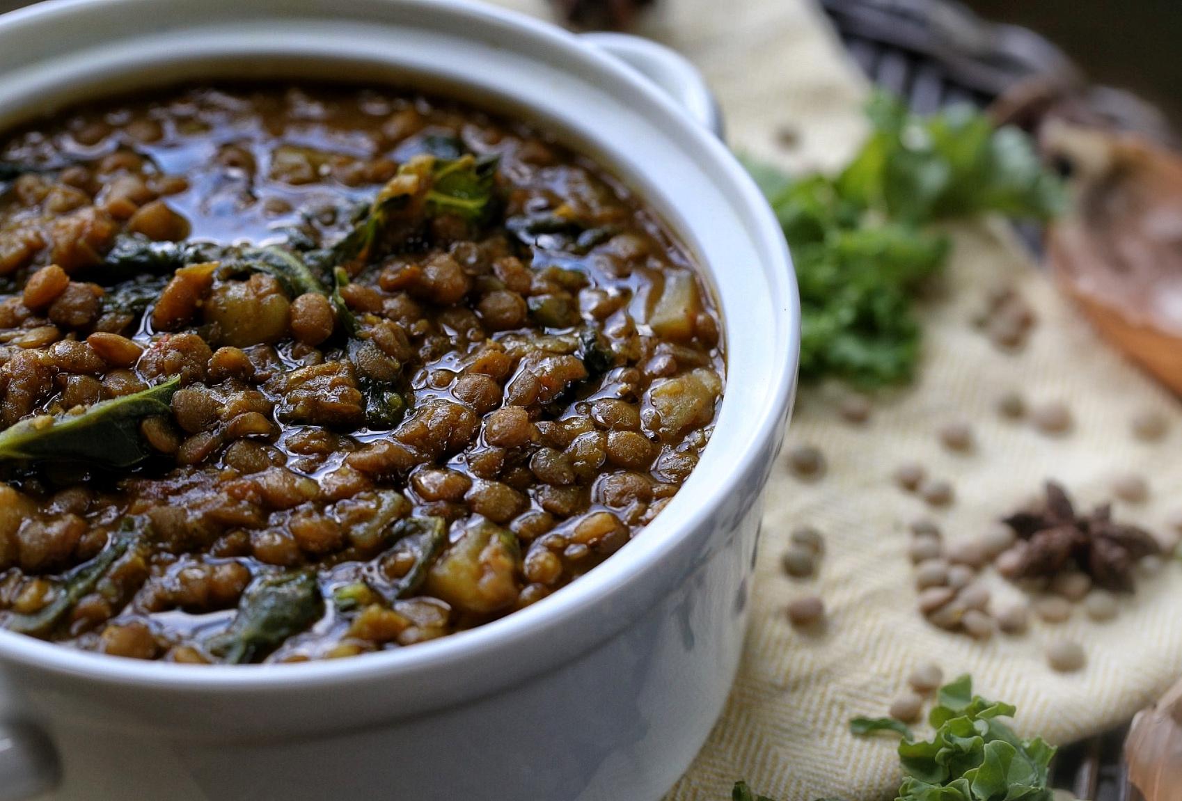 Potato lentil soup with kale