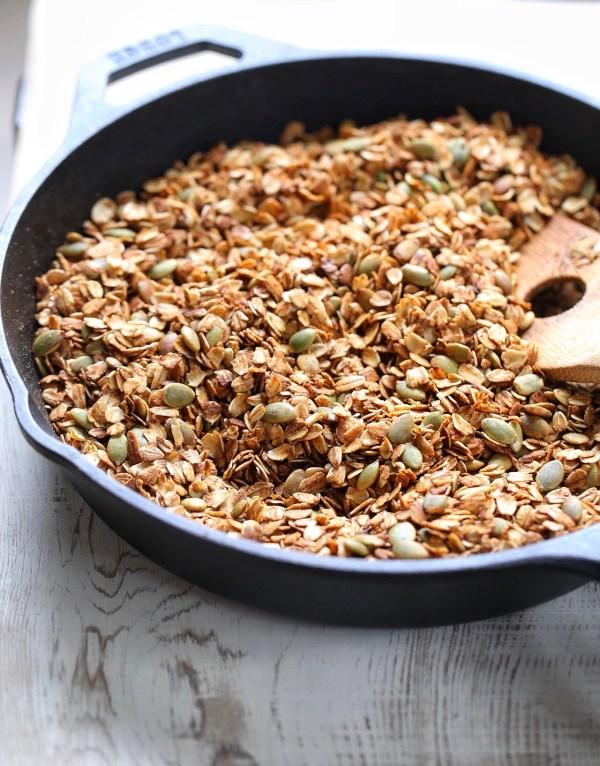 Stove top granola with molasses and pepitas