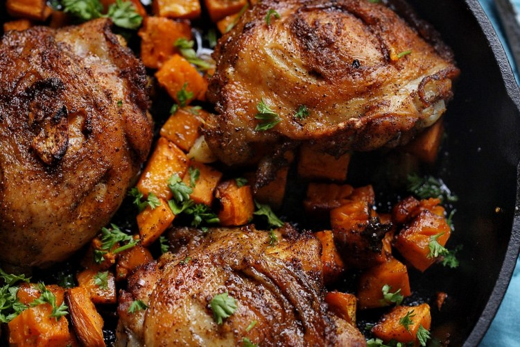 Crispy oven baked chicken with sweet potatoes