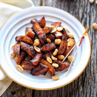 Sweet Ripe Plantain Crisps with roasted peanuts