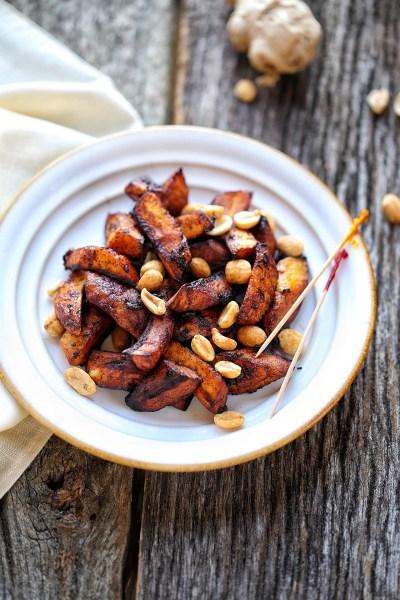 Sweet Ripe Plantain Crisps with roasted peanuts