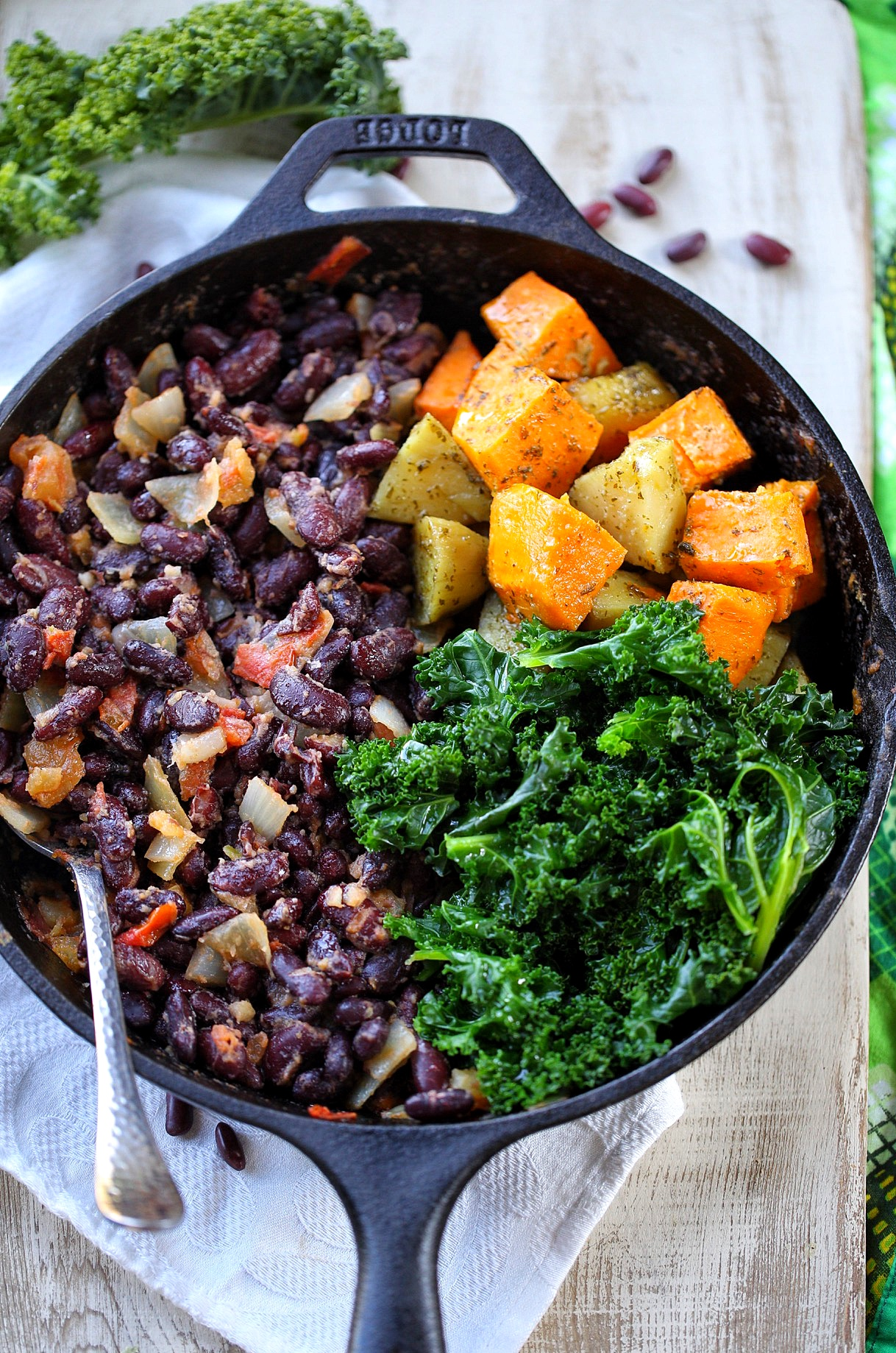 Kidney Beans Sweet Potatoes And Kale Skillet Afrovitalityeats