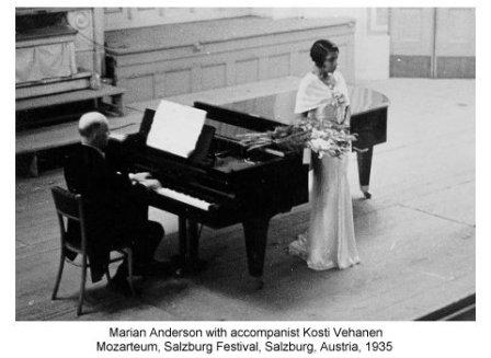 Marian Anderson with accompanist Kosti Vehanen, Mozarteum, Salzburg Festival, Salzburg, Austria, 1935
