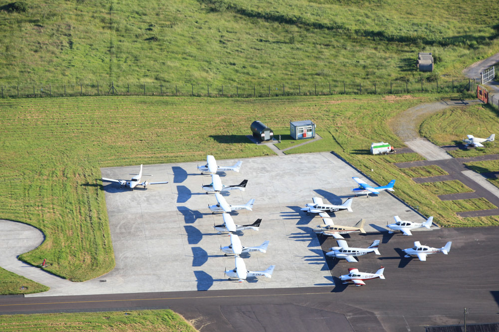Atlantic Flight Training Academy aircraft fleet on the ramp