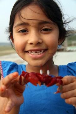 Leya and Crab in Cox'z Bazaar