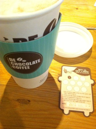 De Chocolate Coffee - best hot chocolate eveeeer; embarrassed to show what that card looks like now, but not really; kind of pricey though (5,600 won...)