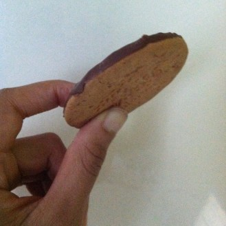 i love these things. thick, whole grain-tasting biscuit with chocolate on one side.