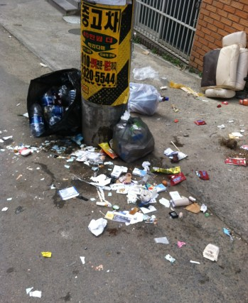 on a relatively clean day. always broken glass and garbage in the street.
