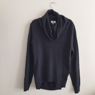 grey cowlneck sweater, $0.97