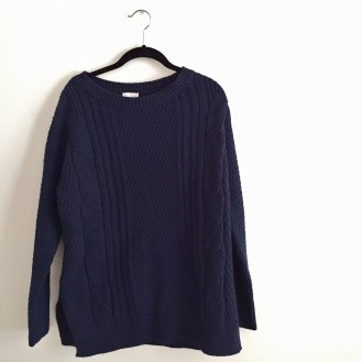 blue knit sweater, $10