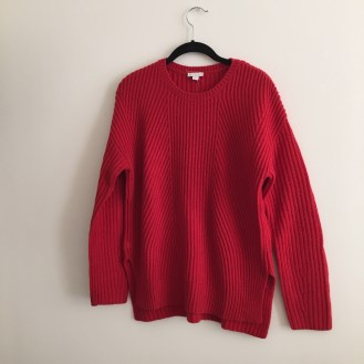 red knit sweater, $10