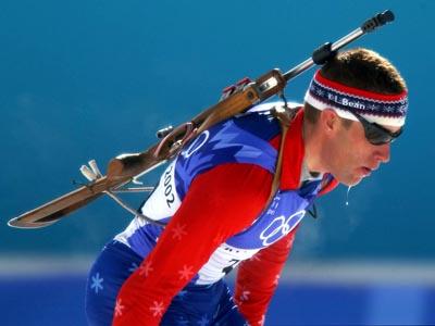 Jeremy Teela is seen competing the 2002 Winter Olympic games in Salt Lake City, Utah. (Navy photo)