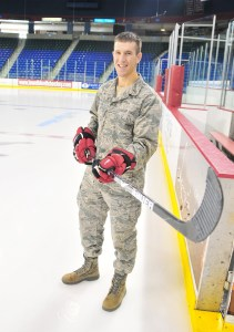 nd Lt. Greg Flynn in Paul Tsongas Arena in Lowell, Mass., home of the Lowell Devils minor league hockey team. (Courtesy photo/Andrew Ramsey)