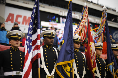 Midshipmen wait to march on before the the 114th Army-Navy football game at Lincoln Financial Field in Philadelphia, Pa., on Saturday, December 14, 2013. (Mike Morones/Staff)