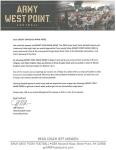 A signed, customize-able letter designed to get Army West Point football fans out of work tomorrow. Click for a larger version and use at your own risk (Army West Point football via Twitter)