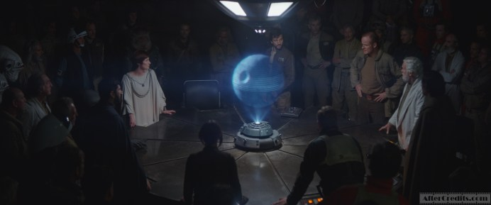 Rogue One: A Star Wars Story Rebel Base L to R: Mon Mothma, Cassian Andor, General Draven and Dodanna) Photo credit: Lucasfilm/ILM ©2016 Lucasfilm Ltd. All Rights Reserved.