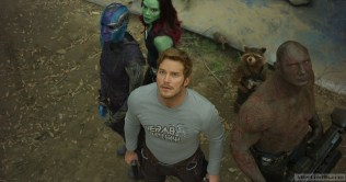 Guardians Of The Galaxy Vol. 2 L to R: Nebula (Karen Gillan), Gamora (Zoe Saldana), Star-Lord/Peter Quill (Chris Pratt), Groot (voiced by Vin Diesel), Rocket (voiced by Bradley Cooper) and Drax (Dave Bautista) Ph: Film Frame ©Marvel Studios 2017