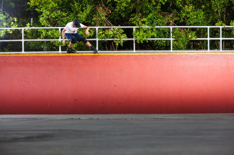 Mark Teo Backside Full Torque on the horizontal rail at the Penang Youth Park.