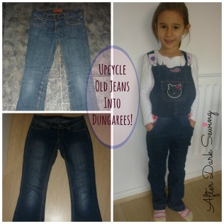 Upcycle old jeans into girls' dungarees @AfterDarkSewing