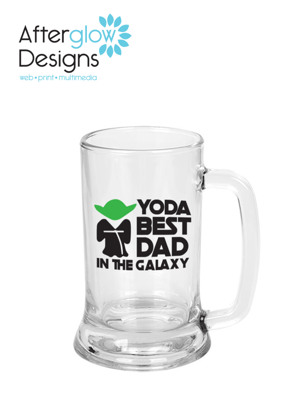 """Yoda Best Dad in the Galaxy"" on 12.25 oz Beer Mug"