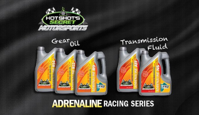 Hot Shot's Secret Adrenaline Racing Gear Oil lowers operating temperature, reduces wear and shearing and improves oxidation stability, and is available in three viscosities: Adrenaline R9 (75W-90), Adrenaline R11 (80W – 110) and Adrenaline R14 (85W-140). Adrenaline R9, R11 and R14 Gear Oils are all based on 100% Group IV polyalphaolefins (PAO) and high quality Group V synthetic oils infused with FR3 nano technology to reduce wear and shearing. This patented formula provides a boundary layer of protection that improves film strength, improves thermal stability and reduces friction for added protection against varnish and sludge deposits; while allowing for extended drain intervals.