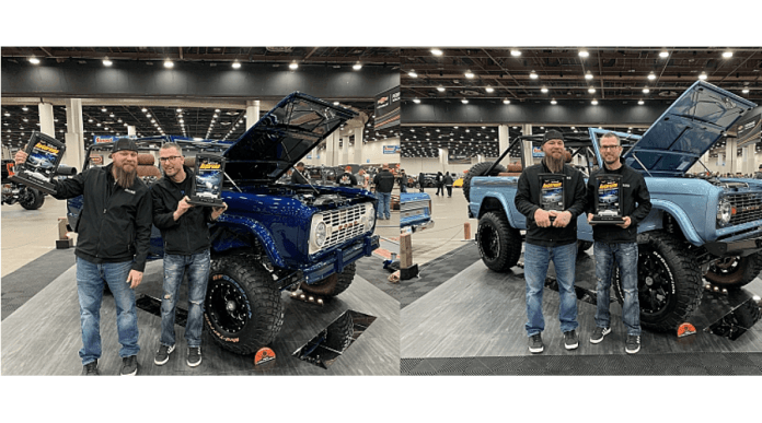 Maxlider Brothers Customs team members are seen in front of the 1966 four-door Ford Bronco and a 1974 two-door Bronco they entered and won awards for.