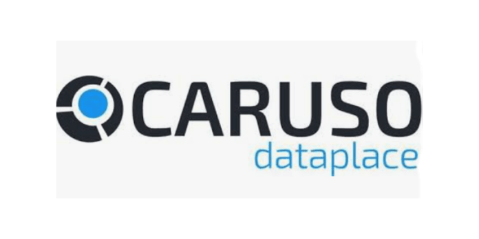 This is the logo of the Caruso Dataplace. It says Caruso in all capital letters, with the word dataplace in all lower-case letters below it.