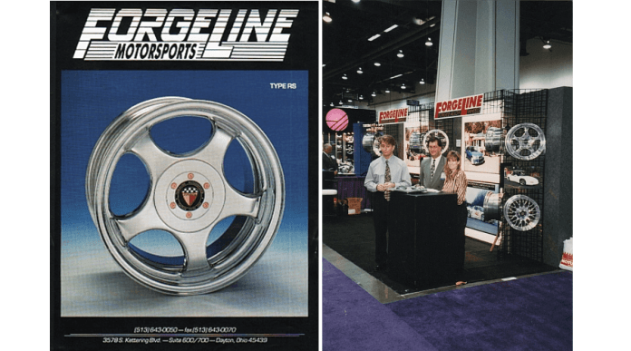 On the left, is a magazine advertisement from the early days, showing a Forgeline wheel. On the right, a photo from a trade show in the past. Three people are standing at a booth.