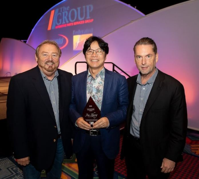 From left, Rusty Bishop, CEO, Federated Auto Parts; Jim Zhang, owner, Friction One; and Bo Fisher, chairman of the board, Federated Auto Parts.