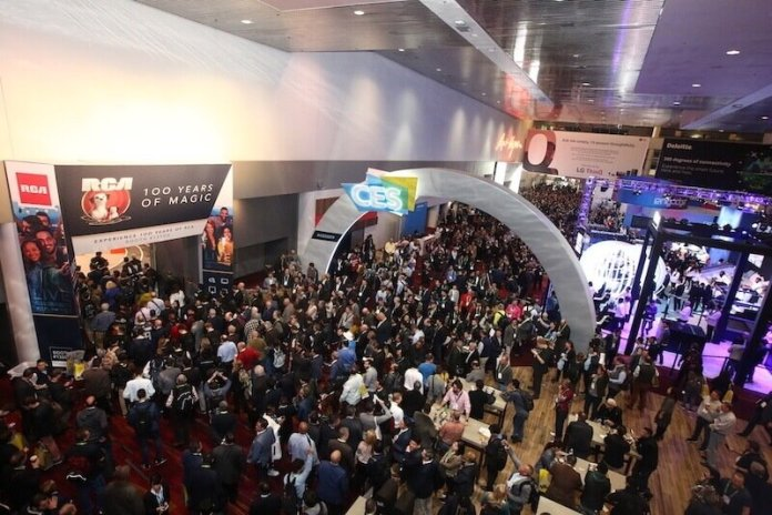 The opening day crowd at CES 2019 in Las Vegas. Thousands of people are seen inside the show hall.