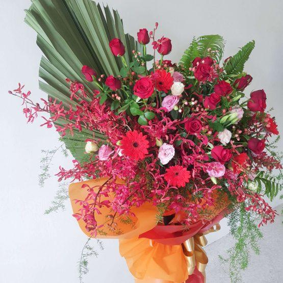 Congratulatory Fresh Flower Stand by AFTERRAINFLORIST