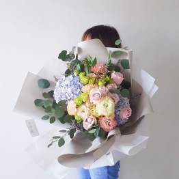 Medium Large Fresh Flower Bouquet Featuring Lilac Hydrangeas and other flowers by AFTERRAINFLORIST
