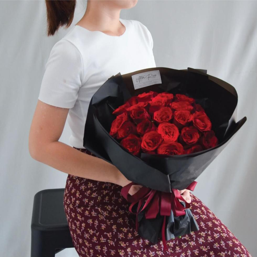 Elegant Red Roses in Classic Style Fresh Bouquet by AFTERRAINFLORIST