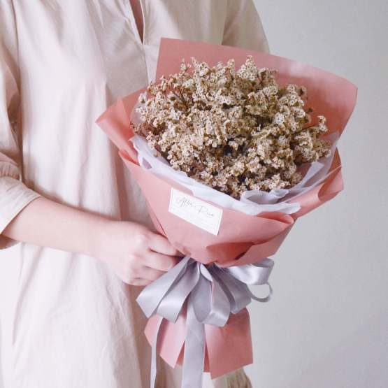 Dried White Caspia Bouquet by AFTERRAINFLORIST