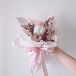 Dried Flower & Cotton Bouquet by AFTERRAINFLORIST