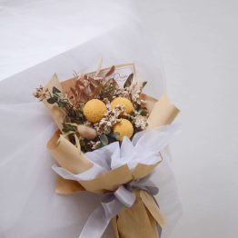Dried Flower Series with Yellow Craspedia, White Caspia, Pavifloral & Pistacia Spirited Dried Flower Bouquet by AFTERRAINFLORIST