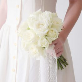 Fresh White Roses Bridal Bouquet with Lace Ribbon by AfterRainFlorist