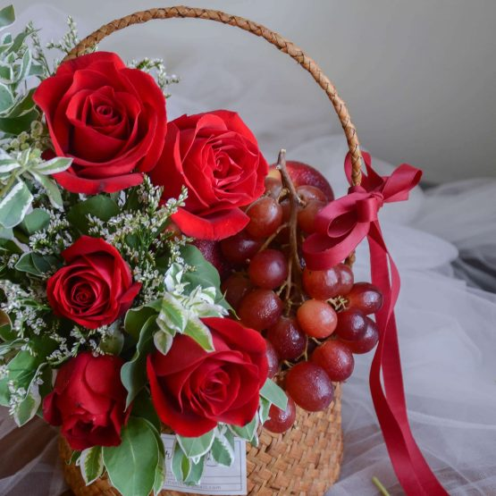 Red Rose Lavish Fresh Flower & Fruit Basket by AfterRainFlorist, PJ Florist