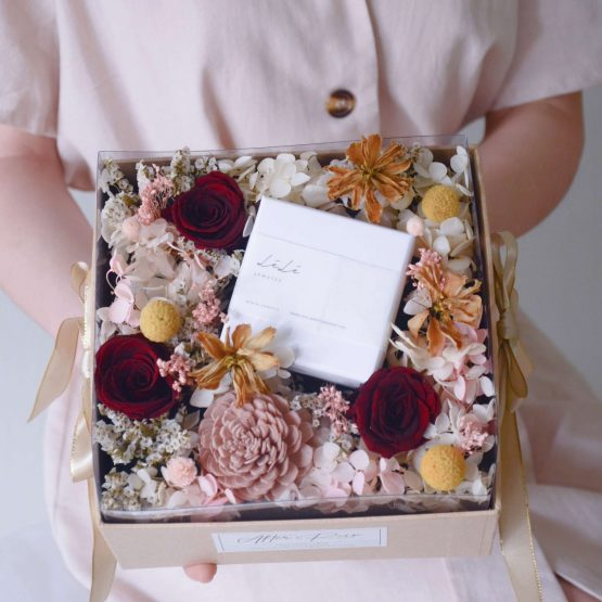 Preserved flower box with lele jewelry collaboration by AfterRainFlorist, PJ Flower Delivery