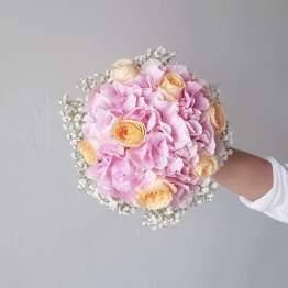 Pastel Pink Hydrangea Fresh Flower Bridal Bouquet by AfterRainFlorist, PJ Florist, KL & Selangor Flower Delivery Service