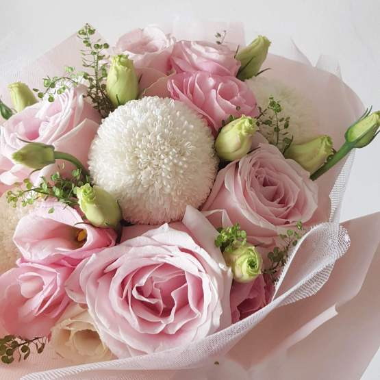 Something Pink Mix Fresh Flower Wrapping Bouquet by AfterRainFlorist, PJ Florist, KL & Selangor Flower Delivery Service