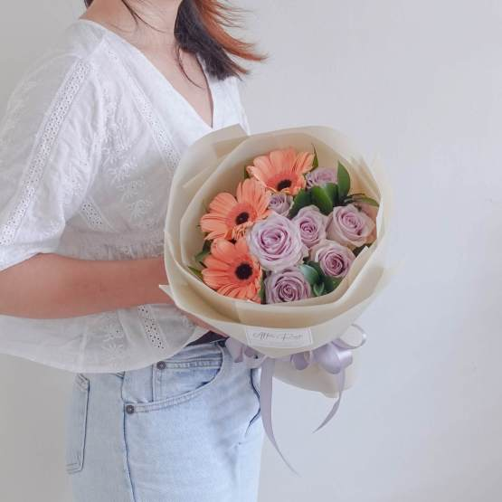 Birthday Small Fresh Gerbera & Rose Bouquet by AfterRainFLorist, PJ (Malaysia) online Florist,KL & Selangor / Klang Valley Flower Delivery Service
