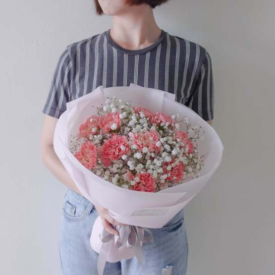 Mother's Day 2021 Carnation mixed Baby Breath Fresh Flower Bouquet by AfterRainFLorist, PJ (Malaysia) online Florist,KL & Selangor / Klang Valley Flower Delivery Service